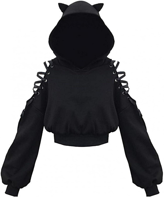 Teen Girls Crop Hoodies Cute Cat Ear Long Sleeve Sweatshirt Pullover Gothic Hollow Shoulder Tops for Women Party Wear