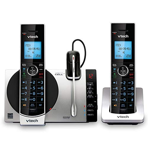 VTech DS6771-3 DECT 6.0 Expandable Cordless Phone with Connect to Cell, Siri and Google Now Access, Silver/Black, 2 Handsets and 1 Cordless Headset (Renewed)