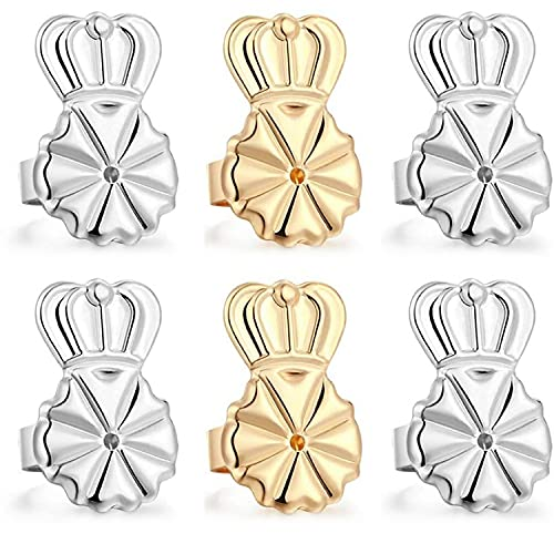 3 pares de cierres de pendientes ajustables hipoalergénicos para orejas perforadas (corona)