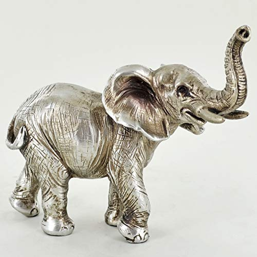 Prezentscom Elefanten-Skulptur, antikes Silber, 13 cm hoch