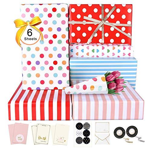 Geschenkpapier 6 Blatt, Packpapier mit Bänder Aufkleber Leere Grußkarten Umschlag für Geschenkverpackung Herz Punkte Streifen