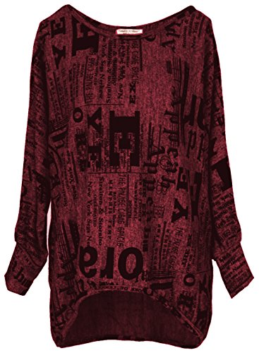 Emma & Giovanni - Oversize Langarmshirt/Pullover- Damen (M, Bordeaux)