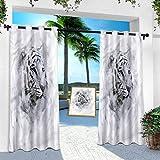 Aishare Store - Cortinas de cortina para exteriores, diseño de tigre blanco, 254 x 213 cm, impermeables, para exteriores, para terraza, lana, porche, cabaña de piscina (1 panel)