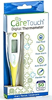 Care Touch Digital Thermometer | 50 Probe Covers | Multi-Use Thermometer for Babies,..