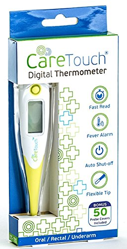 Care Touch Digital Thermometer   50 Probe Covers   Multi-Use Thermometer for Babies, Adults, and Pets