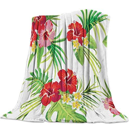 AEMAPE Manta Suave para sofá Cama, Arte de Flores de la Selva Tropical Tropical, Manta Ligera y cálida para Viajes, Camping, 50 'x 60'
