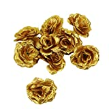 Pomeat 30 Pack Gold Artificial Silk Rose Flower Heads for Wedding Flower Wall DIY Crafts Party Decoration