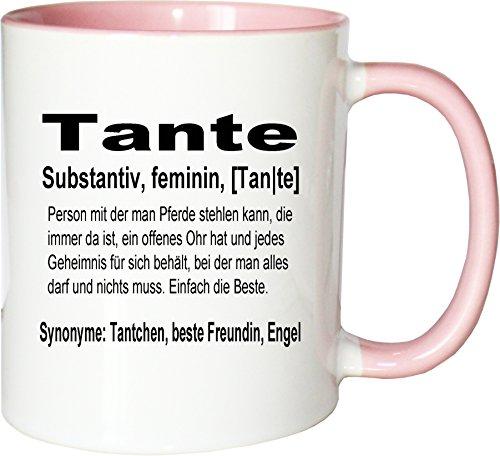 Mister Merchandise Kaffeebecher Tasse Tante Definition Geburt Schwester Nichte Neffe Geschenk Teetasse Becher Weiß-Rosa