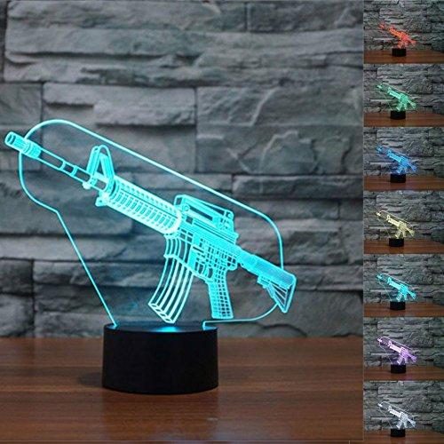 3D Die waffe Optische Illusions-Lampen, Tolle 7 Farbwechsel Acryl berühren Tabelle Schreibtisch-Nachtlicht mit USB-Kabel für Kinder Schlafzimmer Geburtstagsgeschenke Geschenk