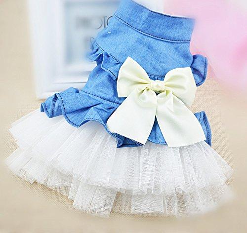 犬服 デニム風ワンピース チュールスカート かわいいリボン コスチューム ペット服 おしゃれペット つなぎ ワンちゃん服 人気 (S)