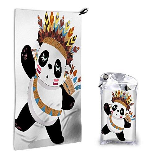 Toallas de Mano de Oso Pandas Lindas Toalla de Cara Toalla de Plumas con Tocado de Pandas Tribales con Flecha Toalla de Mano súper Absorbente Toallas de Playa para la Punta de los Dedos