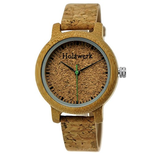 Handgefertigte Holzwerk Germany® Designer Damen-Uhr Öko Natur Vegan Holz-Uhr Armband-Uhr Analog Klassisch Quarz-Uhr mit Kork Armband und Holz Ziffernblatt (Holzwerk-Kork)