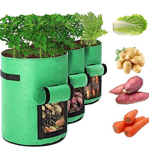 McNory 3er Pack Kartoffel Pflanzbeutel,Pflanztasche,Pflanztasche mit Sichtfenster Klettverschluss,Vliestopfbehälter für Pflanzbeutel Kartoffel Tomaten Kartoffelsack (3er-Pack Grün,7 Gallonen)