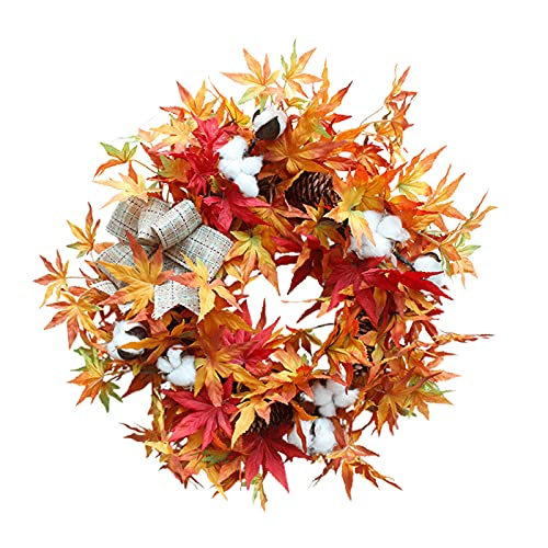 FXforer 18Inch Artificial Autumn Door Wreath,Fall Maple Leaf Wreath,Farmhouse Harvest Decorative Wreath with Bow-Knot for Front Door Wall Window Thanksgiving Halloween Everyday Home Decor