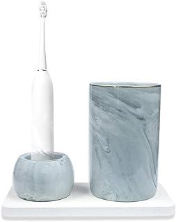 Set di tazze da bagno in ceramica, include mini portaspazzolino, vassoio per spazzolino da denti assorbente, in marmo di a...