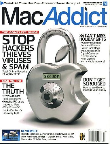 MacAddict December 2002 w/CD Stop Hackers Thieves Viruses & Spam, Use Excel to Manage Your Money, Helping PC Users Move to Mac, Why PowerPC Kicks Pentium's Scrawny Butt, Tested: All 3 New Dual-Processor Power Macs