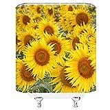 YEDL Gelbe Sonnenblume Duschvorhänge 02 Kreatives Design Sommerblume Pflanzenmuster Druck Bad Dekor Polyester Stoff Vorhang 180 × 180 cm