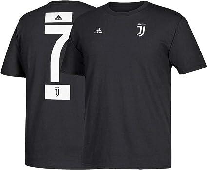 adidas Cristiano Ronaldo Serie A Juventus FC Men's Black Name & Number Jersey T-Shirt