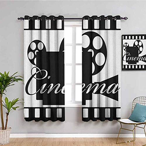 Movie Theater Insulating Room Darkening Blackout, Curtains 84 inch Length Monochrome Cinema Projector Inside a Strip Frame Abstract Geometric Pattern Protective Furniture Black White W72 x L84 Inch