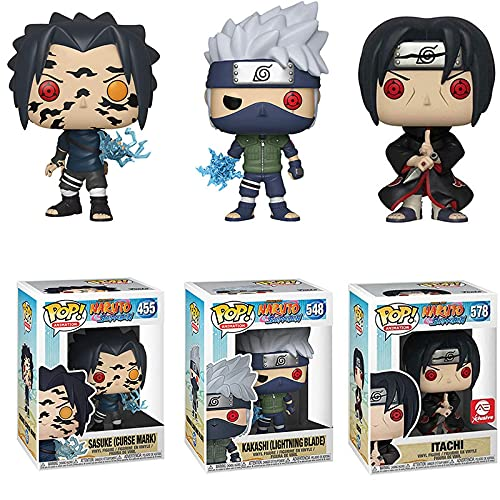 3Pcs/Set 10Cm Naruto Pop Vinyl Figure Toys Series #455 Sasuke (Curse Mark) #548 Kakashi #578 Itachi Action Figure Toys Nendoroid Gifts For Kids Boys