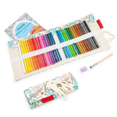 Lápices de colores en estuche enrollable de tela, libro de colorear, 36 lápices, basado en aceite, no tóxico, núcleo suave de 3,5 mm, estuche, sacapuntas, accesorio de extensión (Paris)