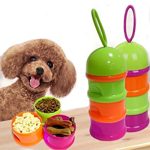 Portable Mascota Caja de Aperitivos de Tres Capas, Barril de Almacenamiento de Grano de Mascotas, Caja Fresh-Keeping de pienso, Tamaño: 18 * 7.6cm, Color al Azar