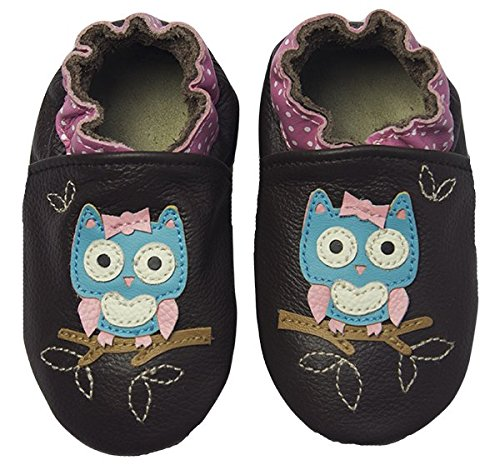 Rose & Chocolat Chaussures Bébé Polka Owl Marron Taille 24/25 cm 18-24 Mois