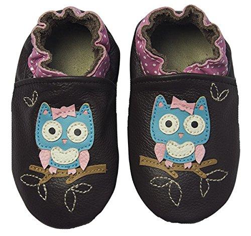 Rose & Chocolat Chaussures Bébé Polka Owl Marron Taille 18/19 cm 0-6 Mois