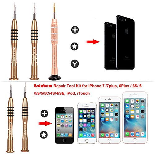 Cell Phone Repair Tool Kit - Screwdriver Set Kit for iPhone Apple 8 8 Plus 7 7 Plus 6S 6 Plus SE 5S 5 5C 4S Opening Pry Tools for iPhone X,Laptop,Tablet,Phillips Screwdriver Star Pentalobe,Y Tri-Point