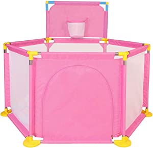 WJSW Hexagon Playpen for Babies with Basket Frame Safety Play Center Yard Toddler Play Pen Preschool Toys Indoor Playground Protective Playmats 129x66cm Pink