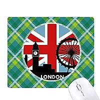 英国のユニオンジャックロンドンアイ英国ビッグベンの旗 緑の格子のピクセルゴムのマウスパッド