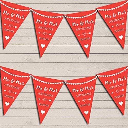 Heart Mr Mrs Tropical Red Ve Wedding Financial sales sale Party Bunting Anniversary New mail order