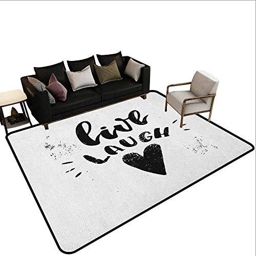 MsShe Tapijt liner voor tapijt Leef Lach Liefde, Doodle Stijl Citaat met Bloemen Harten en Sterren Kleurplaten Book Design, Zwart Wit