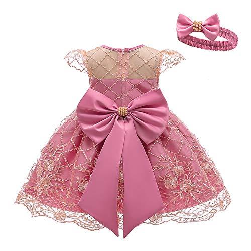 LZH Baby Mädchen Kleider Partykleid Schleife Prinzessin Kleider mit Stirnband Für Party Geburtstag Hochzeit Tutu Prinzessin Blume Spitzenkleid