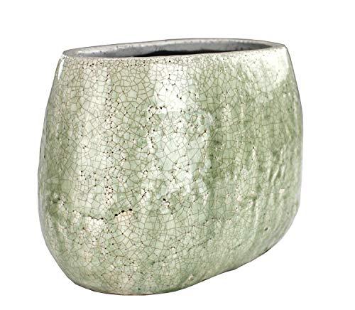 DARO DEKO Pflanztopf hoch aus Keramik - weiß/olivegrün