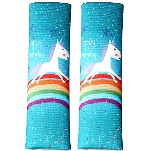 pengxiaomei 2 Pcs Unicorn Seat Belt Pads, Soft Seat Belt Cover Car Safety Seat Belt Shoulder Pad for Child Kids Toddlers Baby