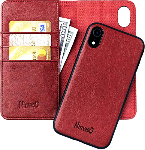 iPhone XR Leather Wallet Case - Detachable Magnetic Shock-Proof TPU Mobile Cell Phone Case - Best 2-in-1 Folio Flip Cover Credit and ID Cards Slots for Apple iPhone XR 6.1 Inch by NinwoO – Red