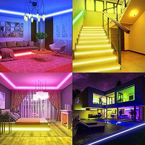 String Lights Strip Lights, 32.8ft WiFi Tape Lights, 300 Leds 5050 RGB 10m 12V Rope Lights Tira de luz Que Cambia de Color con Control Remoto IR, Compatible con Alexa/Google, controlado por App, n