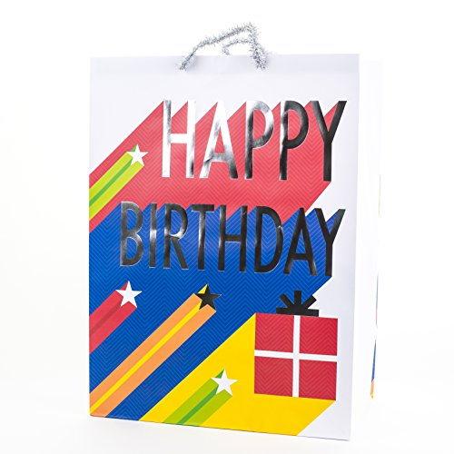 "Hallmark 20"" Oversized Gift Bag for Birthdays, Parties and More (Happy Birthday Stars)"
