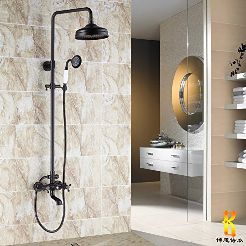 Black bronze antique shower all copper European style shower taps suit with lifting belt redation D