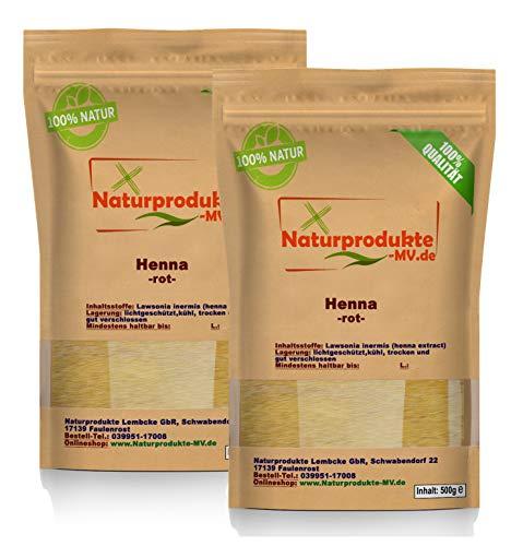 Henna Pulver rot (2x 500 g) Hennapulver Haarfarbe natürliche Haarpflege 1000g 1kg