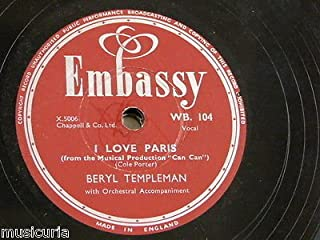 78rpm BERYL TEMPLEMAN i love paris / if i give my heart to you