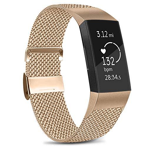Amzpas Correa para Fitbit Charge 3 y Fitbit Charge 4, de malla, ajustable, de acero inoxidable, con cierre magnético único, color 04 Oro Rosa