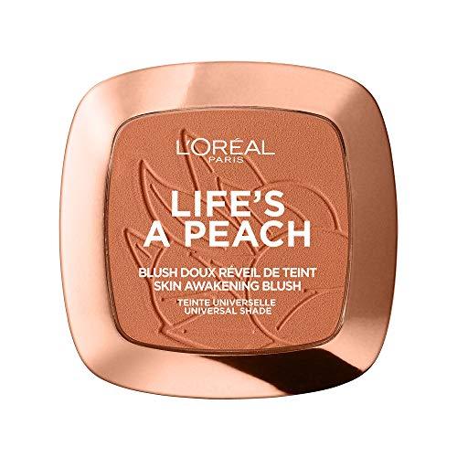 L'Oréal Paris Rouge Puder mit lichtreflektierenden Pigmenten für einen pfirsichfarbenen Glow, Life's a Peach Blush, Nr. 01 - Life's a Peach, 1 x 9 g
