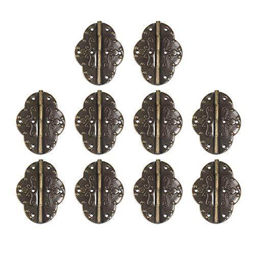 MTMTOOL - Bisagras elípticas decorativas de bronce envejecido para armario, caja de joyería, bisagra plegable con tornillos, paquete de 10