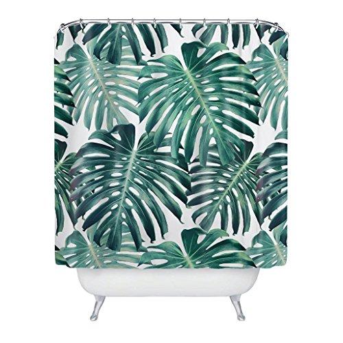 Colour Kingdom Tropical Broadleaf Pflanze Extra lange wasserdichte Badezimmer Dusche Gardinen mit 12 Haken