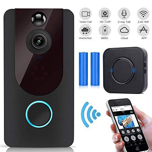 M-TOP Doorbell WiFi Outdoor deurbel Wireless Outdoor Waterdicht met camera 720p HD groothoek 166° bewegingsdetectie PIR, nachtzicht USA Voltage