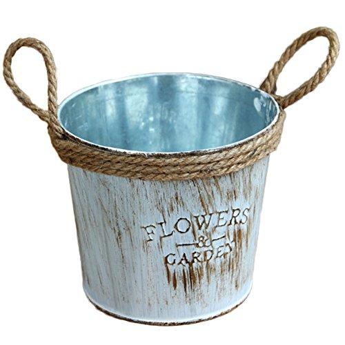 Oyfel Pot de Fleur Vase Metal Bleu pour Succulente Cactus Balcon Jardin 1 Pcs
