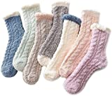 Fuzzy Warm Slipper Socks Women Super Soft Microfiber Cozy Sleeping Socks 6 or 5 Pairs 7 Pairs Patchwork One Size