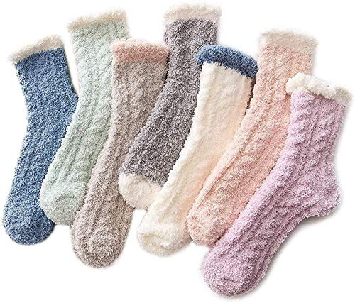 Fuzzy Warm Slipper Socks Women Super Soft Microfiber Cozy Sleeping Socks, 7 pairs, One Size
